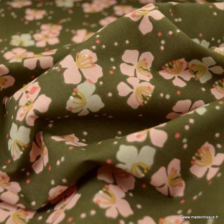 Tissu Kamini motifs fleurs menthe et rose fond bronze - oeko tex