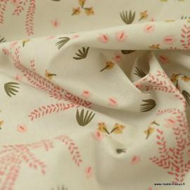 Tissu Hysope motifs fleurs fond grège - oeko tex
