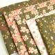 Tissu Shima motifs oiseaux et fleurs fond bronze - oeko tex