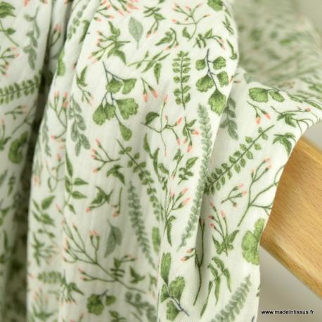 Tissu double gaze de coton feuillage vert  - Oeko tex