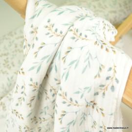Tissu double gaze de coton feuillage Céladon fond Ivoire - Oeko tex