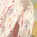 Tissu double gaze de coton fleurs séchées corail fond Ivoire - Oeko tex