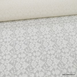 Tissu Dentelle dessin5853 ivoire contre collée mousseline ivoire