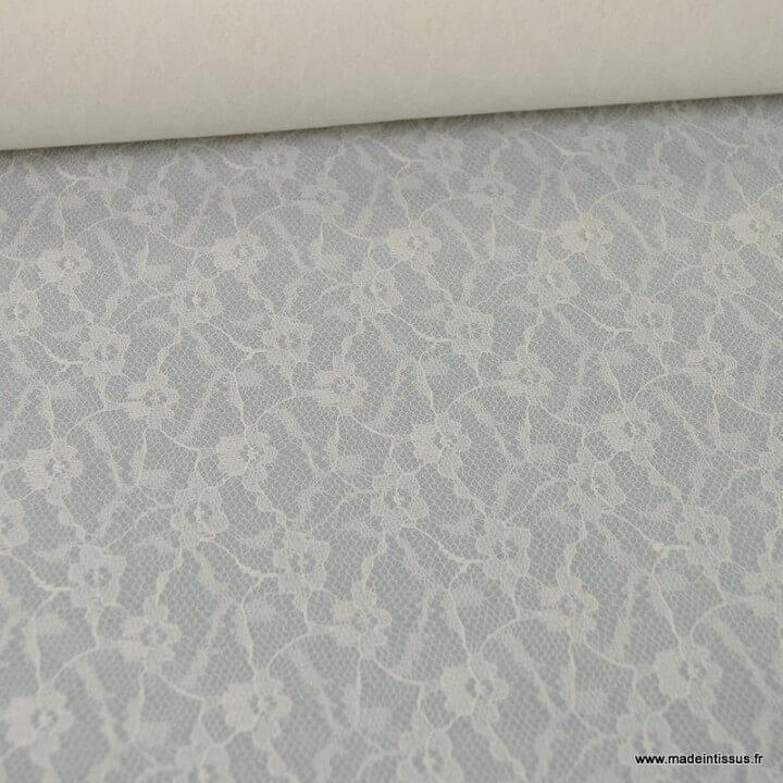 Tissu Dentelle dessin811S ivoire contrecollée mousseline ivoire 150cm