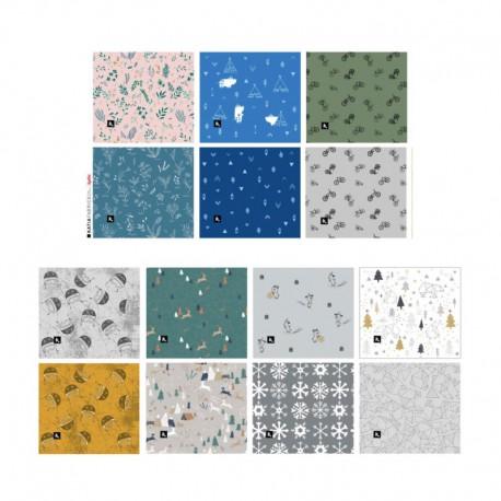 Panneau de 6 masques à plis enfant catégorie 1 Katia Fabrics casques  - oeko tex
