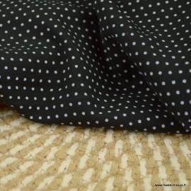 Tissu Viscose à pois fond Noir