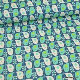 """Tissu Canva Kokka motifs Oiseaux Turquoise  """"Cute Bird"""" - Oeko tex"""