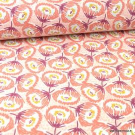 Toile de coton Tessaya chili type Canva imprimé fleurs - oeko tex