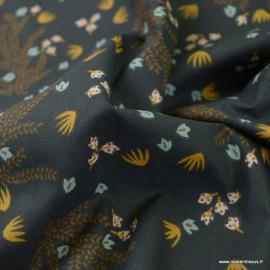 Tissu Hosia motifs fleurs fond Plomb - oeko tex