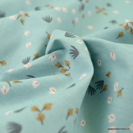 Tissu Yposia motifs fleurs baltique et Camel - oeko tex