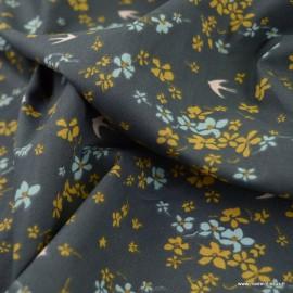 Tissu Shima motifs oiseaux et fleurs fond plomb - oeko tex