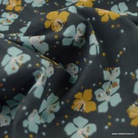 Tissu Kamini motifs fleurs menthe et rose fond Plomb - oeko tex