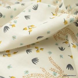 Tissu Hysope motifs fleurs nuages et éteint fond grège - oeko tex