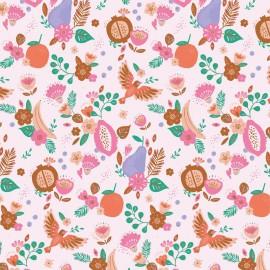 Popeline motifs fleurs, fruits et oiseaux par Katia Fabrics Tulum fruits - oeko tex