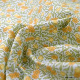 Tissu coton Joanne imprimé fleurs fond Ciel - Oeko tex