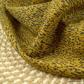 Tissu Viscose Savane motifs fond Ocre - oeko tex