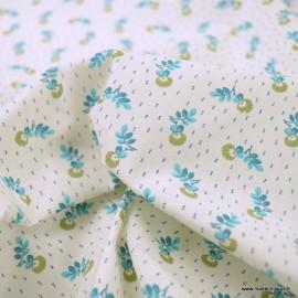 Tissu coton Salomé motifs fleurs Turquoises - oeko tex