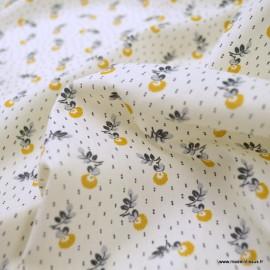 Tissu coton Salomé motifs fleurs Moutarde - oeko tex