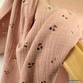 Tissu Double gaze motifs cerises foil fond vieux rose - oeko tex