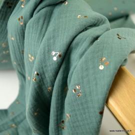 Tissu Double gaze motifs cerises foil fond menthe - oeko tex
