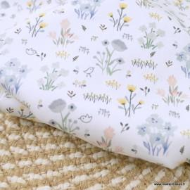 Popeline Bio Gots & oeko tex motifs fleurs et petits oiseaux geis fond blanc