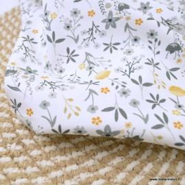 Popeline Bio Gots & oeko tex motifs fleurs  grises et ocre fond blanc