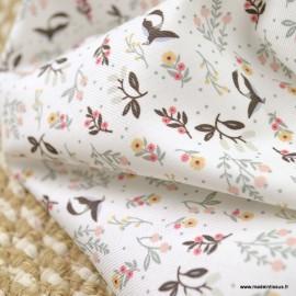 Sergé de coton Bio Gots & oeko tex motifs fleurs et oiseaux rose, tilleul et chocolat