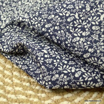 Voile de coton Bio Gots & oeko tex motifs fleurs et oiseaux fond marine