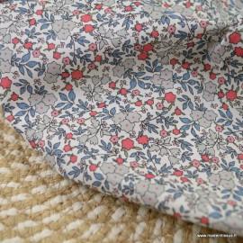 Voile de coton Bio Gots & oeko tex motifs fleurs grises, bleus et rose