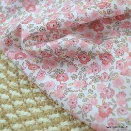 Voile de coton Bio Gots & oeko tex motifs fleurs roses et menthe
