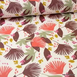 Tissu coton Saori Enduit motifs feuillages Bordeaux -  Oeko tex