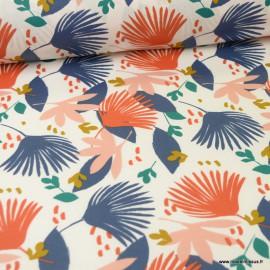 Tissu coton Saori Enduit motifs feuillages bleu et rose  -  Oeko tex