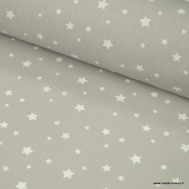 Tissu coton Enduit motifs étoiles fond gris -  Oeko tex