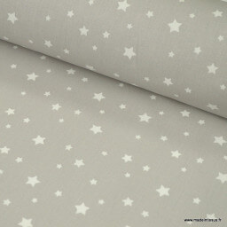 Tissu coton oeko tex imprimé étoiles grises au mètre