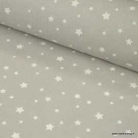 Tissu coton oeko tex imprimé étoiles gris