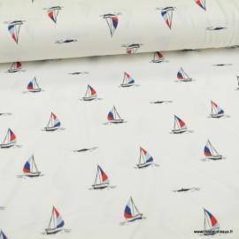 Tissu jersey motifs bateaux fond blanc - Oeko tex