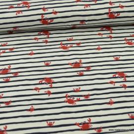 Tissu jersey à rayures motifs crabes - Oeko tex