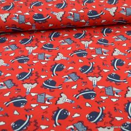 Tissu jersey motifs poissons, phares et bateaux fond rouge - Oeko tex