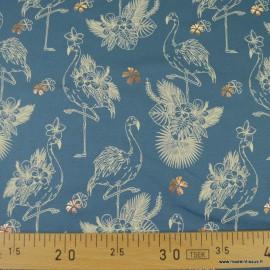 Tissu jersey motifs flamants rose Foil fond bleu - Oeko tex