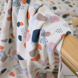 Tissu jersey motifs cercles abstraits écru - Oeko tex