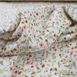 Tissu jersey Bio motifs fleurs fond écru -  GOTS & Oeko tex