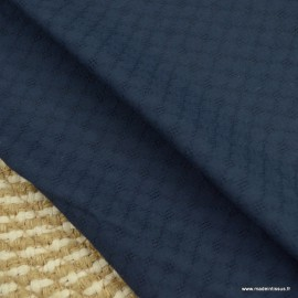 Popeline ajourée et brodée motifs losanges coloris Marine - oeko tex