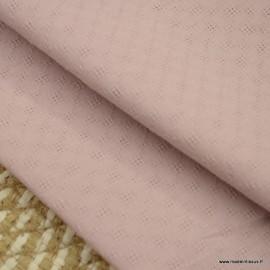 Popeline ajourée et brodée motifs losanges coloris Rose clair - oeko tex