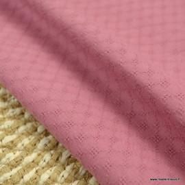 Popeline ajourée et brodée motifs losanges coloris Rose - oeko tex