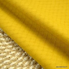 Popeline ajourée et brodée motifs losanges coloris Moutarde - oeko tex