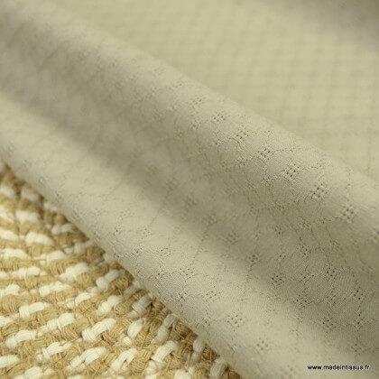 Popeline ajourée et brodée motifs losanges coloris Beige - oeko tex