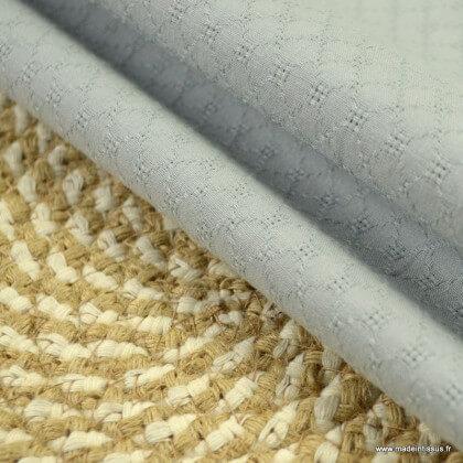 Popeline ajourée et brodée motifs losanges coloris Gris - oeko tex