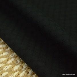 Popeline ajourée et brodée motifs losanges coloris Noir - oeko tex
