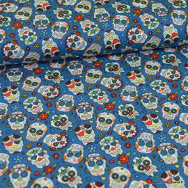 Tissu Popeline têtes de mort Calaveras fond bleu - oeko tex