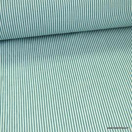 Tissu à rayures pétrole et blanc